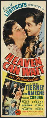 "Heaven Can Wait (20th Century Fox, 1943). Insert (14"" X 36""). Comedy"