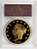 """S.S.C.A. Relic Gold Medals, 1855 $50 SSCA Relic Gold Medal """"1855 Kellogg & Co. Fifty"""" GemProof PCGS...."""
