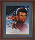 Boxing Collectibles:Autographs, Muhammad Ali Signed Giclee Canvas Ron Lewis Print....