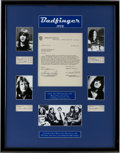 Music Memorabilia:Autographs and Signed Items, Badfinger Band Autographs Display....