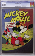 Golden Age (1938-1955):Cartoon Character, Four Color #116 Mickey Mouse and the House of Many Mysteries (Dell,1946) CGC VF 8.0 Off-white to white pages....