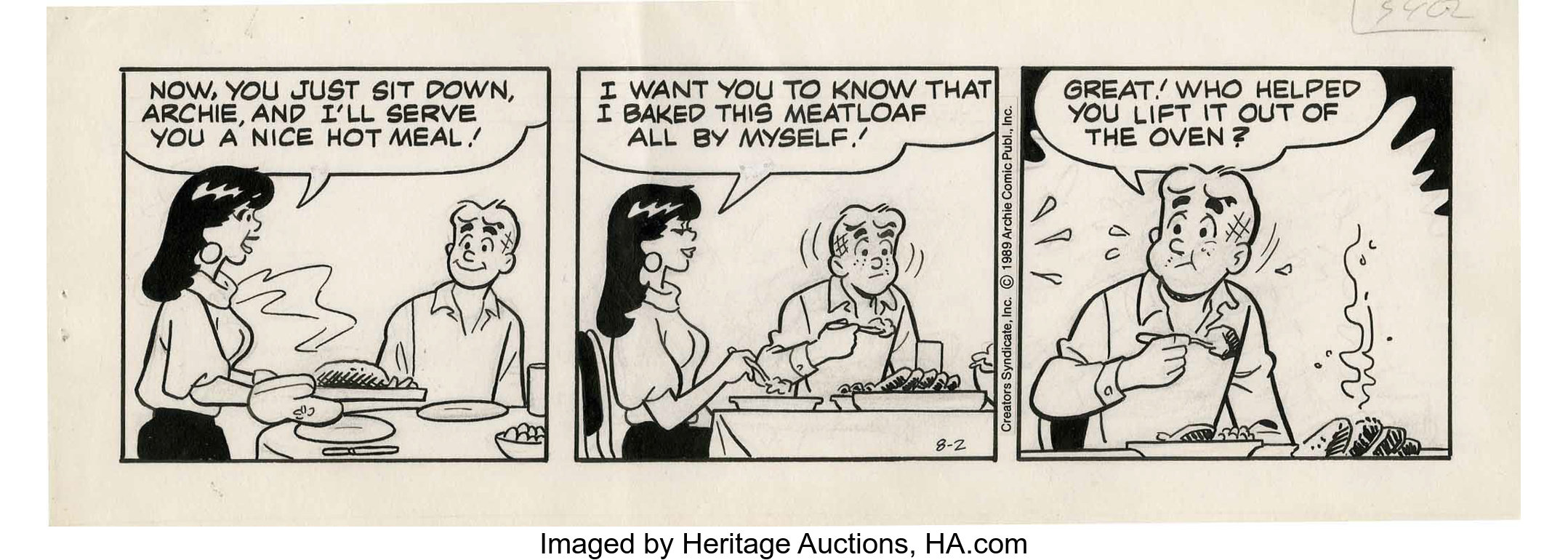 Dan Decarlo Archie Daily Comic Strip Original Art Dated 8 2 89 Lot 17704 Heritage Auctions
