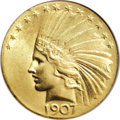 Indian Eagles, 1907 $10 Wire Rim--Scratched--ANACS. MS60 Details....