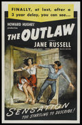 """Movie Posters:Western, The Outlaw (RKO, R-1950). One Sheet (27"""" X 41""""). Western. StarringJane Russell, Jack Beutel, Thomas Mitchell, Walter Huston..."""
