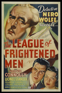 "The League of Frightened Men (Columbia, 1937). One Sheet (27"" X 41""). Mystery. Starring Walter Connolly, Lione..."