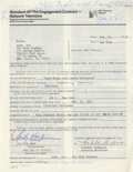 """Movie/TV Memorabilia:Autographs and Signed Items, Andy Kaufman Signed """"Late Night with David Letterman"""" Contract. Astandard AFTRA agreement dated February 23, 1983, signed o..."""