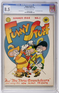 Funny Stuff #1 (DC, 1944) CGC VF+ 8.5 Off-white to white pages