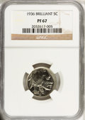 Proof Buffalo Nickels: , 1936 5C Type Two--Brilliant Finish PR67 NGC. NGC Census: (92/14).PCGS Population (108/6). Mintage: 4,420. Numismedia Wsl. ...