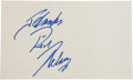 Music Memorabilia:Autographs and Signed Items, Ricky Nelson Autograph....