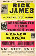 Music Memorabilia:Posters, Rick James/Grandmaster Flash Kansas City Concert Poster (Al Haymon,1976)....