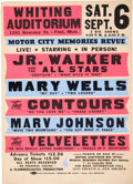 Music Memorabilia:Posters, Junior Walker/Mary Wells Whiting Auditorium Concert Poster(1980)....