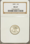Seated Dimes: , 1883 10C MS67 NGC. NGC Census: (20/1). PCGS Population (9/2).Mintage: 7,674,673. Numismedia Wsl. Price for NGC/PCGS coin i...