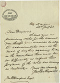 "Autographs:Military Figures, Mexican War Occupation Letter: John G. Reynolds Autograph LetterSigned on Mexican Stationery with ""Direccion General de A..."