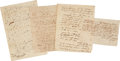 """Autographs:Military Figures, Republic of Texas: Group of Four Documents Signed by Notable Texians. (1) Clement C. Dyer Autograph Document Signed, """"... (Total: 4 Items)"""