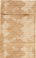 "Autographs:Military Figures, [James ""Jim"" Bowie] Louisiana Legal Filing. Three pages, 12.5"" x7.75"", January 21, 1822, Avoyelles Parish, Louisiana, regar...(Total: 2 Items)"
