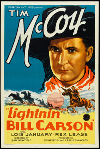"Lightnin' Bill Carson (Puritan, 1936). One Sheet (27"" X 41""). Western"