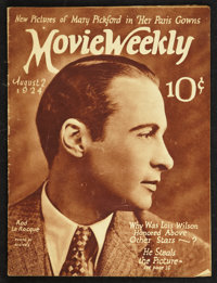 """Movie Weekly (August 2, 1924). Magazine (31 Pages, 9.25"""" X 12.25""""). Miscellaneous"""