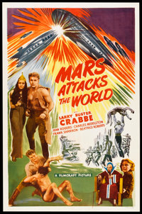 "Mars Attacks the World (Filmcraft, R-1950). One Sheet (27"" X 41""). Science Fiction. Re-release of Flash Gordon..."
