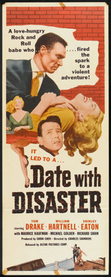 """Date with Disaster (Astor Pictures, 1958). Insert (14"""" X 36"""") and Stills (14) (8"""" x 10""""). Crime..."""