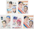 Baseball Collectibles:Others, Baseball Stars Signed Lithographs Lot Of 5. ...