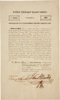 "Autographs:Statesmen, Sam Houston First Texian Loan Scrip Signed as president of theRepublic of Texas. One page, 8"" x 13"", June 20, 1838,""City..."