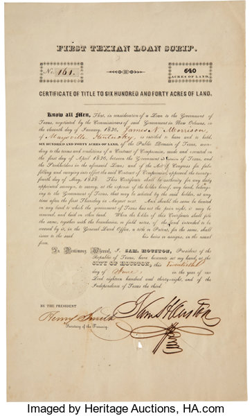 Sam Houston First Texian Loan Scrip Signed as president of | Lot ...