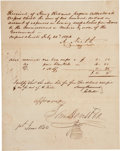 "Autographs:Statesmen, Sam Houston Government Invoice Signed ""Approved/ SamHouston"" as president of the Republic of Texas. One page, 7.75""x 9..."