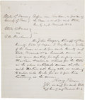 """Autographs:Celebrities, Judge Roy Bean Court Document Signed. One page, 8"""" x 9.5"""", PecosCounty, Texas, n.d. [ca. 1880s], a commitment in the case o..."""