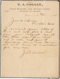 "Autographs:Celebrities, [John Wesley Hardin] Letter to Hardin Dictated by James ""KillingJim"" Miller. One page, 8.5"" x 11"", February 13, 1895, Austi..."