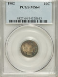 Barber Dimes: , 1902 10C MS64 PCGS. PCGS Population (42/37). NGC Census: (47/29).Mintage: 21,380,776. Numismedia Wsl. Price for NGC/PCGS c...