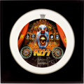 Music Memorabilia:Autographs and Signed Items, Kiss Band-Signed Drum Head....