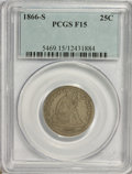 Seated Quarters: , 1866-S 25C F15 PCGS. PCGS Population (3/27). NGC Census: (2/11).Mintage: 28,000. Numismedia Wsl. Price for NGC/PCGS coin i...