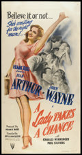 "Movie Posters:Comedy, A Lady Takes A Chance (RKO, 1943). Three Sheet (41"" X 81""). Comedy.. ..."