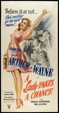"A Lady Takes A Chance (RKO, 1943). Three Sheet (41"" X 81""). Comedy"