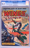 Golden Age (1938-1955):War, Wings Comics #40 Double Cover (Fiction House, 1943) CGC VF+ 8.5Off-white to white pages....