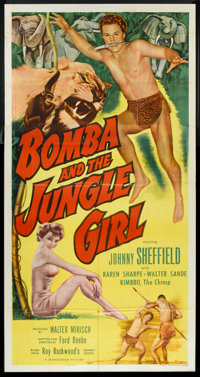 "Bomba and the Jungle Girl (Monogram, 1953). Three Sheet (41"" X 81""). Adventure"