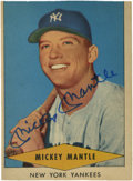 Autographs:Sports Cards, 1954 Red Heart Dog Food Mickey Mantle Signed Card....