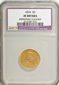 1874 $3 --Improperly Cleaned--NCS. XF Details. NGC Census: (27/2226). PCGS Population (39/1734). Mintage: 41,800. Numism...