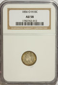 Seated Half Dimes: , 1856-O H10C AU58 NGC. NGC Census: (24/28). PCGS Population (9/25).Mintage: 1,100,000. Numismedia Wsl. Price for NGC/PCGS c...