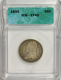 Bust Quarters, 1833 25C XF45 ICG. NGC Census: (26/83). PCGS Population (13/64). Mintage: 156,000. Numismedia Wsl. Price for NGC/PCGS coin ...