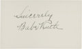 Autographs:Index Cards, Circa 1940 Babe Ruth Signed Index Card....