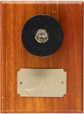 Hockey Collectibles:Equipment, 1934 Stanley Cup-Winning Second Overtime Goal Puck Scored by MushMarch....