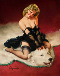 Pin-up and Glamour Art, GIL ELVGREN (American, 1914-1980). Bear Facts (A Modest Look;Bearback Rider), 1962. Oil on canvas. 30 x 24 in.. Signed ...