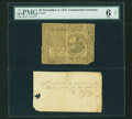 Colonial Notes:Continental Congress Issues, Continental Currency November 2, 1776 $2 with Attached and SignedCard PMG Good 6 Net....