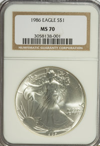 1986 $1 Silver Eagle MS70 NGC. NGC Census: (772/0). PCGS Population (3/0). Mintage: 5,393,005. Numismedia Wsl. Price for...