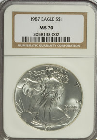 1987 $1 Silver Eagle MS70 NGC. NGC Census: (0/0). PCGS Population (0/0). Mintage: 11,442,335. Numismedia Wsl. Price for...