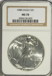 1988 $1 Silver Eagle MS70 NGC. NGC Census: (294/0). PCGS Population (1/0). Mintage: 5,004,646. Numismedia Wsl. Price for...