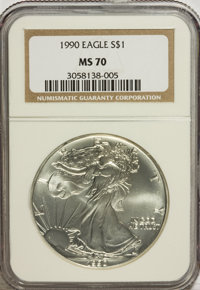 1990 $1 Silver Eagle MS70 NGC. NGC Census: (158/0). PCGS Population (0/0). Mintage: 5,840,210. Numismedia Wsl. Price for...