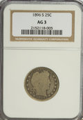 Barber Quarters, 1896-S 25C AG3 NGC. NGC Census: (40/172). PCGS Population (65/450).Mintage: 188,039. Numismedia Wsl. Price for NGC/PCGS co...