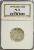 Seated Quarters, 1873-S 25C Arrows AU50 NGC. NGC Census: (3/24). PCGS Population(3/17). Mintage: 156,000. Numismedia Wsl. Price for NGC/PCG...